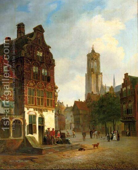 Daily activities in Utrecht with the Domtower beyond by Carel Jacobus Behr - Reproduction Oil Painting
