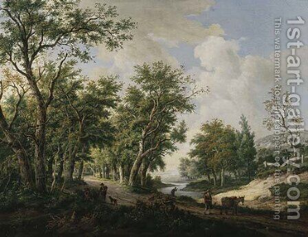 A wooded landscape with travellers conversing by the edge of a forest, another traveller with his mule on a path by Carel Lodewijk Hansen - Reproduction Oil Painting