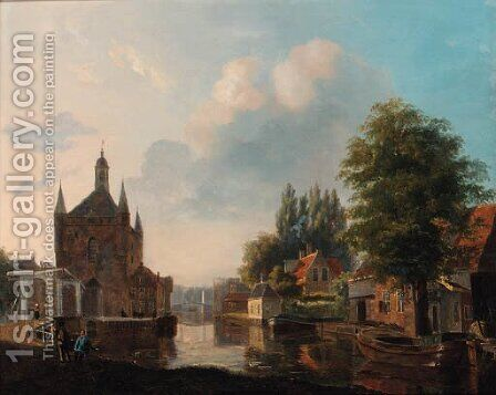 Morning on the canal by Carel Jacobus Behr - Reproduction Oil Painting