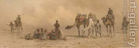 Arabs and camels resting in the desert by Carl Haag - Reproduction Oil Painting