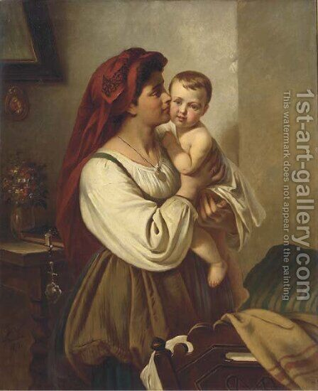 A mother's kiss by Carl Adolf Gugel - Reproduction Oil Painting