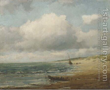 Aan het Noordzeestrand beach with a Bomschuit by Carl August Breitenstein - Reproduction Oil Painting