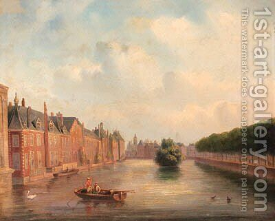 The Hofvijver, The Hague by Carl Eduard Ahrendts - Reproduction Oil Painting
