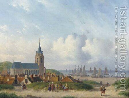 A view of Scheveningen with the beach by Carl Eduard Ahrendts - Reproduction Oil Painting