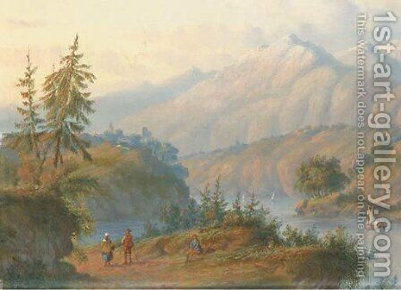 Figures in an Alpine landscape by Carl Eduard Ahrendts - Reproduction Oil Painting
