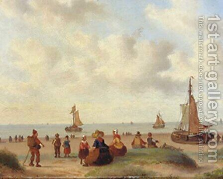 On the beach by Carl Eduard Ahrendts - Reproduction Oil Painting