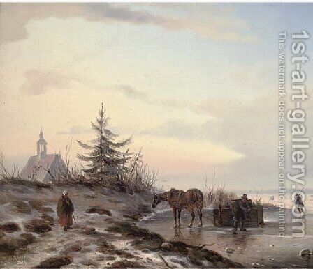Securing a barrel on the ice by Carl Eduard Ahrendts - Reproduction Oil Painting