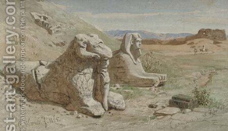 A Ram's Head Sphinx at the Temple of Amun, Karnak by Carl Friedrich H. Werner - Reproduction Oil Painting