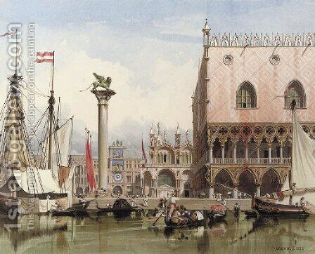Sailingvessels moored by the Doge's Palace, Venice by Carl Friedrich H. Werner - Reproduction Oil Painting
