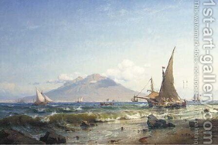 Boats in the bay of Naples by Carl Frederik Sorensen - Reproduction Oil Painting