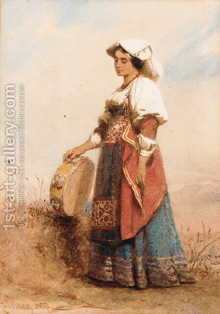 An Italian woman holding a tambourine by Carl Haag - Reproduction Oil Painting
