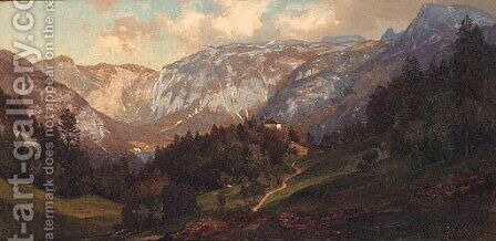 Das Keltengraber Feld bei Hallstadt by Carl Hasch - Reproduction Oil Painting