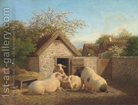 Animal farm by Carl Henrik Bogh - Reproduction Oil Painting