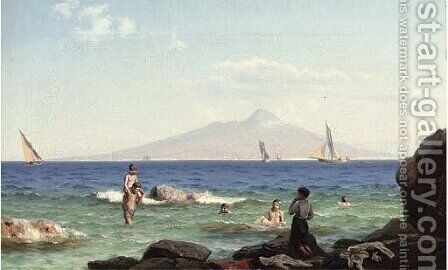 Boys playing in the shallows before Vesuvius by J.E. Carl Rasmussen - Reproduction Oil Painting