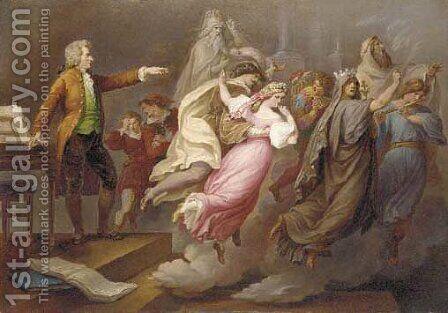 Mozart directing imaginary actors from the operas by Carl Joseph Geiger - Reproduction Oil Painting