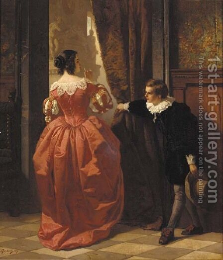Behind the curtain by Carl Ludwig Friedrich Becker - Reproduction Oil Painting