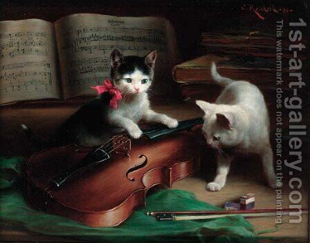 'Pizzicato' by Carl Reichert - Reproduction Oil Painting