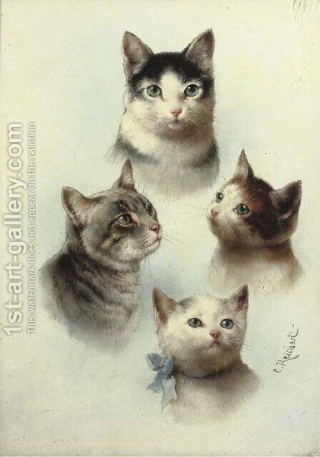 Cute cats by Carl Reichert - Reproduction Oil Painting