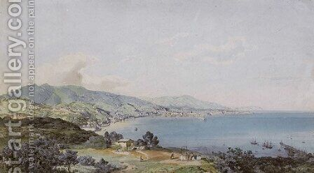 View of the Bay of Genoa by Carl Rottmann - Reproduction Oil Painting