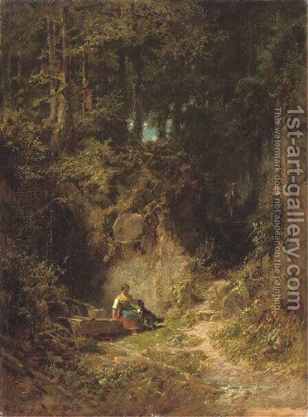 Waldlandschaft (Woodland landscape) by Carl Spitzweg - Reproduction Oil Painting
