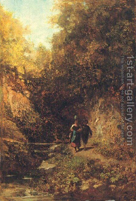Zwei Kinder im Wald (Two children in a woodland) by Carl Spitzweg - Reproduction Oil Painting