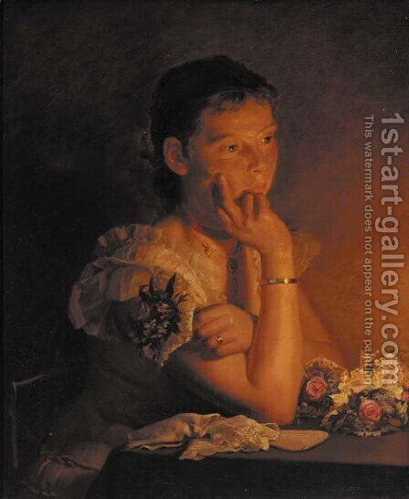 Lost in thought by Carl Christian Frederik Jacob Thomsen - Reproduction Oil Painting