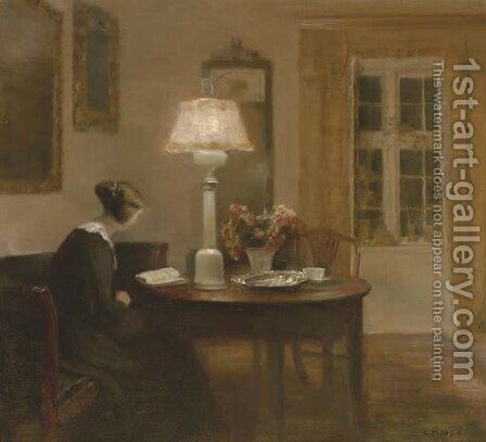 Woman Reading by Lamplight by Carl Vilhelm Holsoe - Reproduction Oil Painting