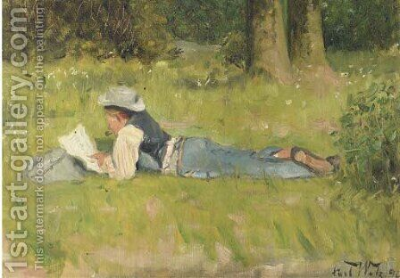 Im Grutnewald reading in the grass by Carl Welz - Reproduction Oil Painting