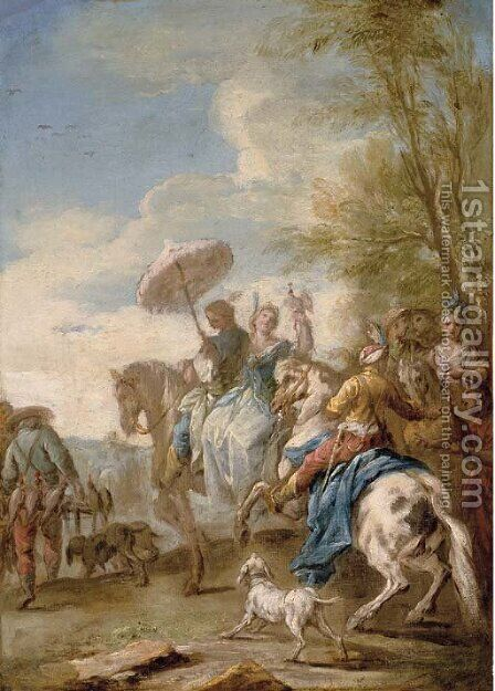 An elegant hawking party by Carle van Loo - Reproduction Oil Painting