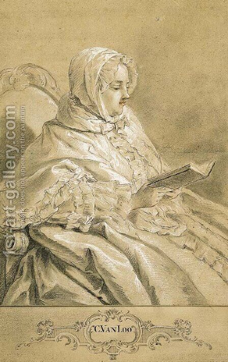 A seated lady wearing a bonnet, reading by Carle van Loo - Reproduction Oil Painting