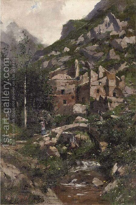 Faggot gatherers crossing a bridge at an Italian hilltown by Carlo Brancaccio - Reproduction Oil Painting