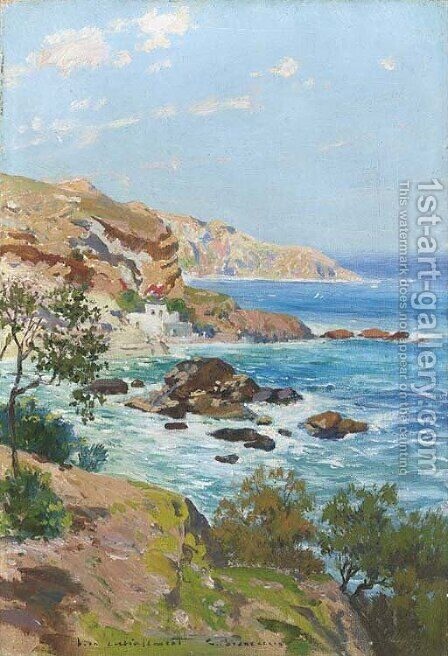 The French riviera by Carlo Brancaccio - Reproduction Oil Painting