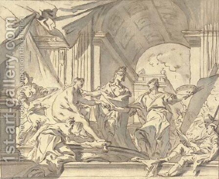 Alexander presenting Campaspe to Apelles by Carlo Innocenzo Carlone - Reproduction Oil Painting
