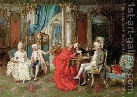 A game of chess by Carlo Luigi Orsi - Reproduction Oil Painting