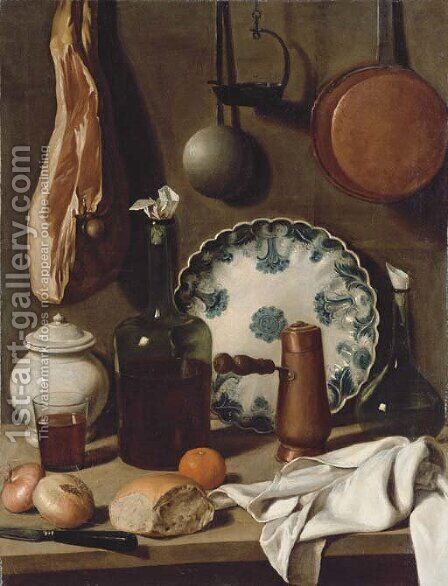 A glass bottle, a blue and white porcelain platter, a copper coffee pot, a flask, a covered jar, a tumbler of wine, a knife, bread by Carlo Magini - Reproduction Oil Painting