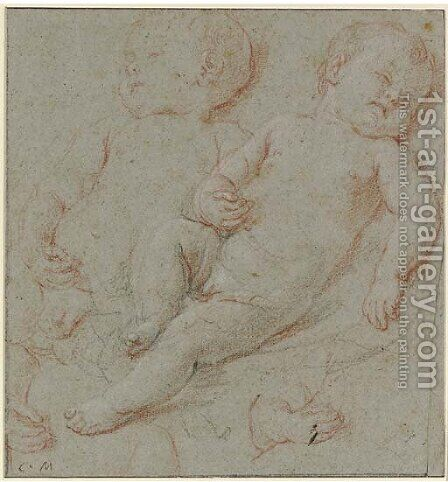 Two studies of a baby sleeping by Carlo Maratta or Maratti - Reproduction Oil Painting