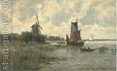 Vessels on a Dutch waterway by Carlos de Haes - Reproduction Oil Painting