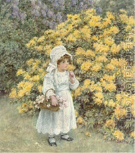 A little girl carrying a basket of flowers before an azalea bush by Caroline Paterson - Reproduction Oil Painting