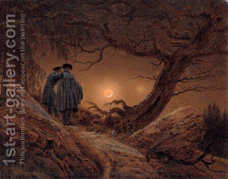 Zwei Mnner in Betrachtung des Mondes by Caspar David Friedrich - Reproduction Oil Painting
