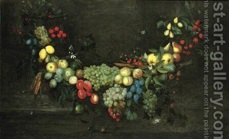 A swag of fruit hanging in a niche, with butterflies, beetles and a snail by Catharina Ykens, Eykens or Ijkens - Reproduction Oil Painting