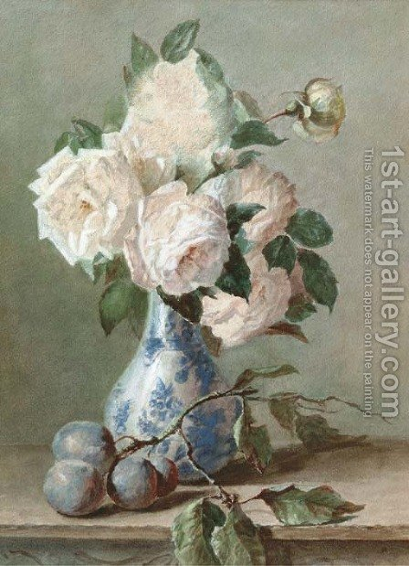 White roses in a blue and white vase by Catharina Kiers - Reproduction Oil Painting