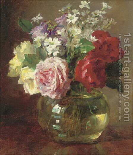 Roses and daisies in a glass vase by Catherine M. Wood - Reproduction Oil Painting