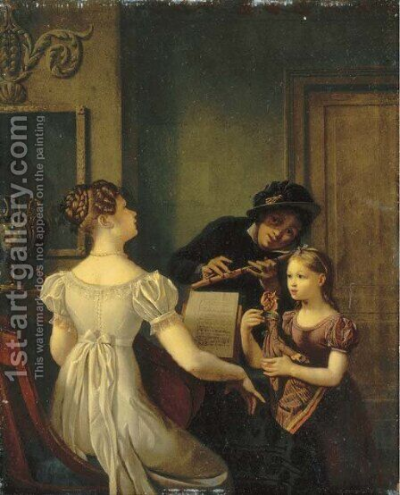 Elegant company playing music in an interior by Celestin Francois Nanteuil - Reproduction Oil Painting