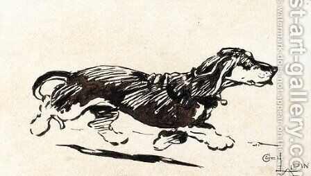 A dachshund running by Cecil Charles Aldin - Reproduction Oil Painting