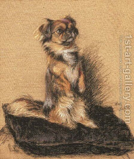 A Pekingese seated on a cushion by Cecil Charles Aldin - Reproduction Oil Painting