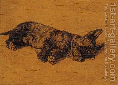 A Scottie asleep by Cecil Charles Aldin - Reproduction Oil Painting