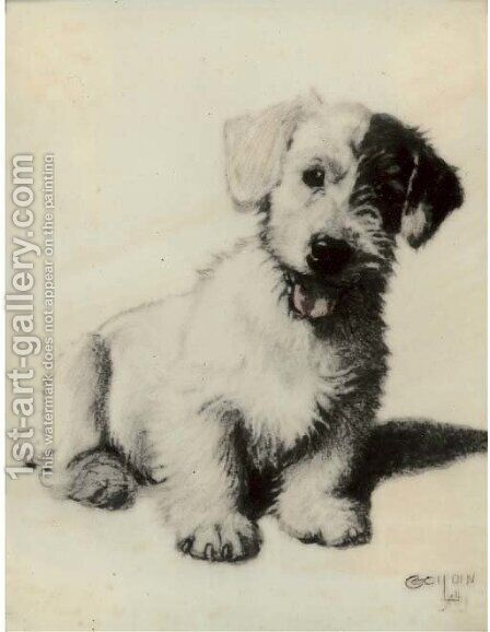 A sealyham terrier 2 by Cecil Charles Aldin - Reproduction Oil Painting