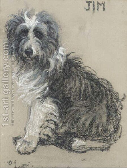 Jim, a bearded collie by Cecil Charles Aldin - Reproduction Oil Painting