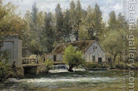Souvenir de Gasny, Eure fishermen by a watermill by Cesar De Cock - Reproduction Oil Painting