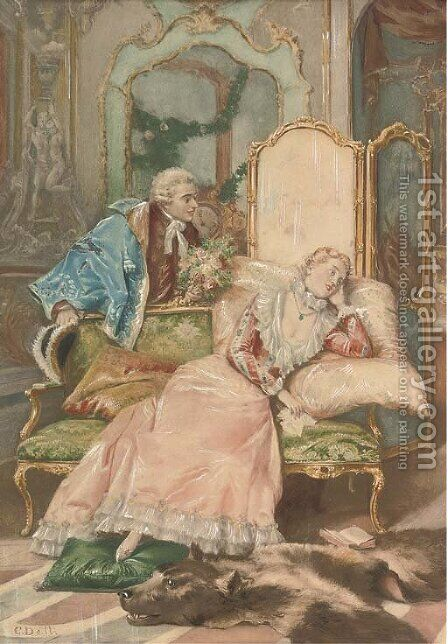 Amorous suggestions by Cesare-Auguste Detti - Reproduction Oil Painting